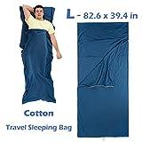 Azarxis Schlafsack Liner Travel Sheet Schlafsack Decke für Erwachsene Baumwolle Lightweight Ultralig (Blau - 82,6 x 39,4 Zoll)
