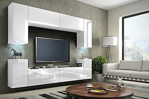 FUTURE 1 Wohnwand Anbauwand Schrankwand Möbel Wand TV-Ständer Wohnzimmer Hochglanz Schwarz / Weiß Beleuchtung LED RGB (Front: Hochglanz Weiß / Korpus: Matt Weiß, LED weiß)