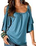 SOMTHRON Damen Sommer Einfarbig Überlagert Rüschen Schulterfrei Hemd Bluse Reine Farbe Kalte Schulter U Neck T-Shirt Tops Rüschen Ärmel (AB-M)