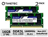 Timetec Hynix IC 16GB Kit (2x8GB) DDR3L 1600MHz PC3-12800 Unbuffered Non-ECC 1.35V CL11 2Rx8 Dual Rank 204 Pin SODIMM Ordinateur Portable Mémoire RAM Module Upgrade (16GB Kit (2x8GB))