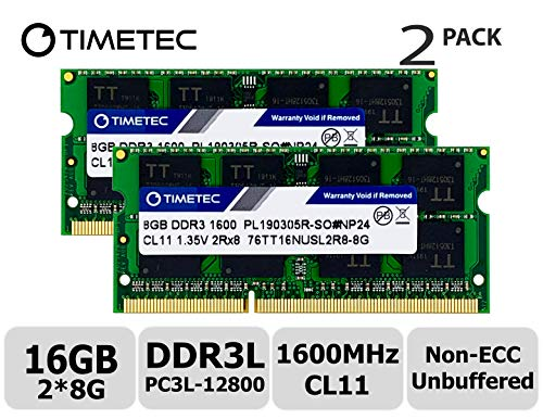 Timetec Hynix IC 16GB Kit (2x8GB) DDR3L 1600MHz PC3-12800 Unbuffered Non-ECC 1.35V CL11 2Rx8 Dual Rank 204 Pin SODIMM Laptop/Notizbuch Arbeitsspeicher Module Upgrade (16GB Kit (2x8GB)) - Acer-ddr-speicher