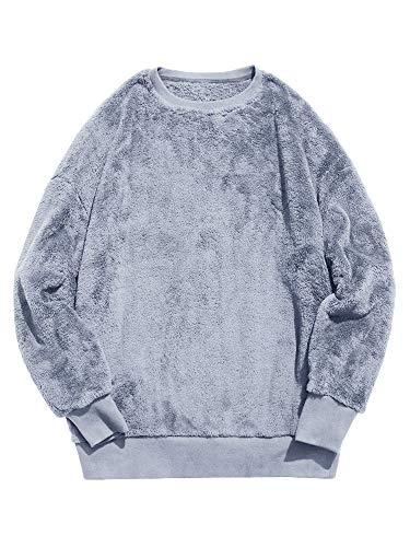 Runcati Herren Fleecepullover Fuzzy Sweatshirt Unsex Langarm Winter Herbst Outwear Sherpa Rundhals-Pullover Flauschiger Pullover - Blau - Groß - Chunky Wolle Pullover