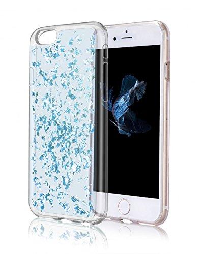 OKCS Golden Glory - pour Apple iPhone 6 Plus, 6s Plus TPU Etui Crystal Clear Housse de Protection Case Cover - en Sky Silver Crystal Blue