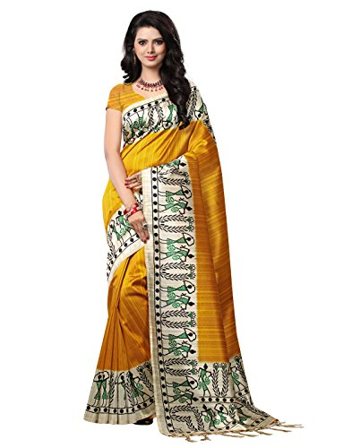 e-VASTRAM Women\'s Mysore Art Silk Printed Saree With Tassel/Kutch (NSTASSELY_Yellow)