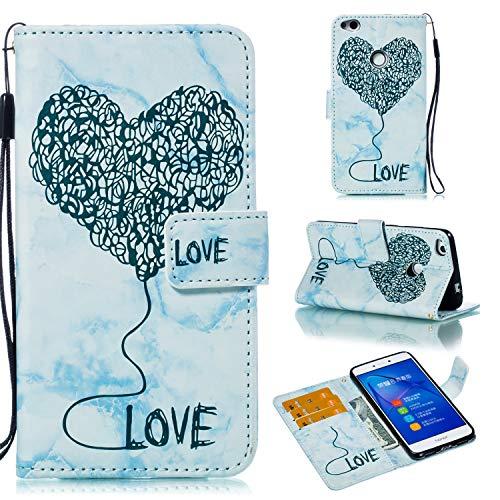 Sycode Marbre Coque pour Huawei P8 Lite 2017,Marble Housse pour Huawei P8 Lite 2017,Amour Cœur Porte-Cartes Flip Cover pour Huawei P8 Lite 2017-Bleu