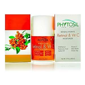 Retinol & Vitamin C Moisturizer- For Day & Night- 2.5% Retinol, 20% Vitamin C, Hyaluronic Acid, Jojoba Oil & Green Tea - Hydrate, Firm & Tighten, Build Collagen, Fade Dark Spots - Phytosil 1.7 OZ