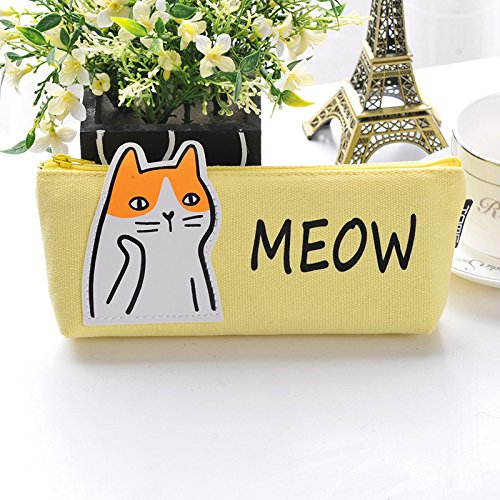 weimay Cute Animal Pencil Case Canvas fabric Pen Brushes Maquillage Crayon Housse de feutre Holder Bag Holder for Students School Supplies Tool (jaune)