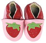 axy Baby Lederschuhe Lauflernschuhe Krabbelschuhe Babyschuhe Kindergartenschuhe - Erdbeere (6-12 Monate)