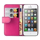 iPhone SE, iPhone 5 / 5s Lederhülle | JAMMYLIZARD Ledertasche [ Wallet Series ] Leder Hülle Flip Case Cover Schutzhülle mit Kartenfach, Pink