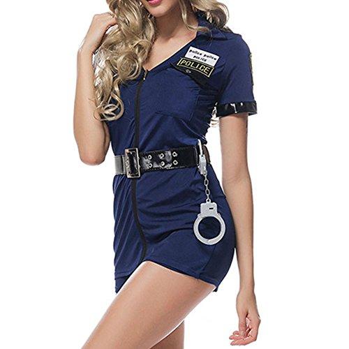 LAEMILIA Damen Spitze Dessous Lingerie Erotik Uniform Negligee Halloween Polizei Polizist Köstum Reizvoll Erwachsenenkostüm Overall (Polizist Dame Kostüme)