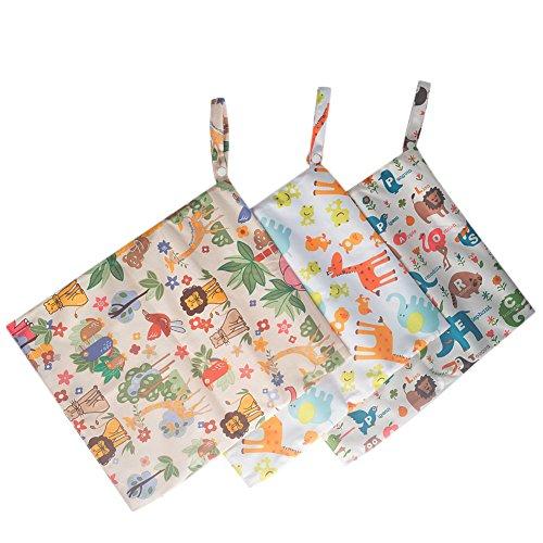 benail bolsa de pañales de mojado y seco impermeable bolsas de pañales lavable reutilizable para colgar organizador de pañales con dos bolsillos con cremallera, viajes, playa, piscina, gimnasio bolsa 3unidades