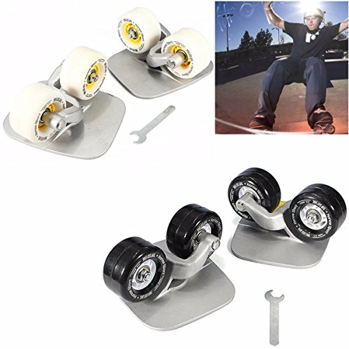 CAMTOA Cool Outdoor Freeline Skates Aluminum Alloy Drift Roller Skateboard (links & rechts) Mit Wrenth Weiss