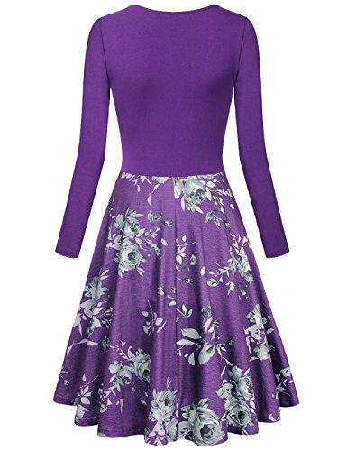Lotusmile Frauen Langarm Kleid Floraler Druck Fließende Passform In Falten gelegt A Line Kleid Mehrfarbig Weinrot