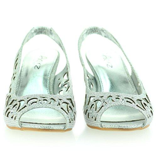 Femmes Dames Soirée Mariage Peeptoe Slingback Diamante Talon Moyen Sandale Chaussures Taille Argent