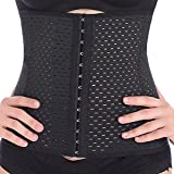 Everbellus Breathable Latex Corset Training Waist Cincher for Women (XLarge, Black)