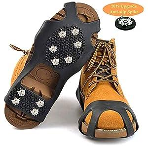 HONYAO Ice Klampen Schuhspikes Schuhkrallen, Anti Rutsch Schnee Spikes Herren Damen Steigeisen Eiskrallen für Schnee und EIS