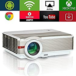 Proyector inalámbrico Android HD 1080P para Home Cinema Theatre, EUG LED LCD HD Proyector Android Wifi 5000 Lúmenes Resolución WXGA 1280x800 con HDMI USB VGA Salida de audio AV para videos Juegos TV DVD PS4