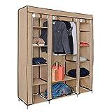 Harima Hive Canvas Kleiderschrank in Beige Stoffkleiderschrank mit 3 Türen und Kleiderstange | Faltschrank für Das Schlafzimmer | mit 5 Bonus Kleiderbügeln | 175 x 150 x 45 cm (H x W x D)