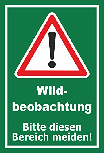 Schild - Wild-beobachtung - Bitte diesen Bereich meiden - 30x20cm mit Bohrlöchern | stabile 3mm starke Aluminiumverbundplatte - S00359-107-E +++ in 20 Varianten erhältlich