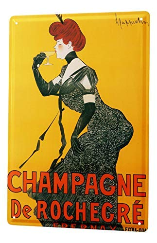 chuanghe3943 Metallschild Alcohol Retro Deco Champagner edel Lady Metallschild