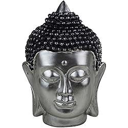 Diseño de Buda escultura de cabeza de 11 x 16 x 9 cm de plata de poliresina de Buda de la decoración Feng Shui