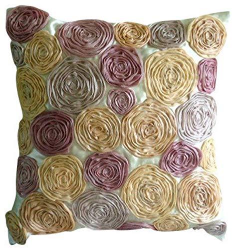 Entwerfer Elfenbein Euro Shams Abdeckungen, 65x65 cm Euro-Kissen, Tissue Blumen Floral Theme Euro Kissen Shams, Satin Euro-Schein, Blumen Shabby Chic Euro Shams - Vintage Dreams -