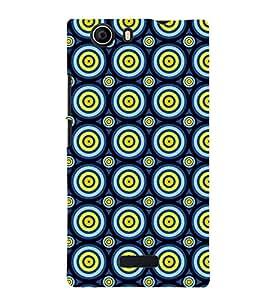Printvisa Premium Back Cover Blue Yellow Polka Dot Illusion Pattern Design For Micromax Canvas Nitro 2 E311::Micromax Canvas Nitro 2 (2nd Gen)