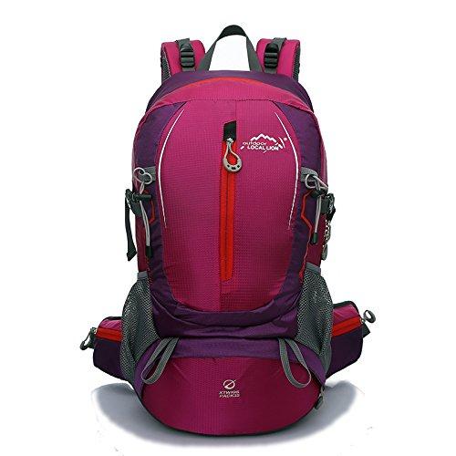 Cuckoo 35L Escursione Daypack Borsa backpacking impermeabile Zaino sportivo esterno per arrampicata Alpinismo Campeggio Pesca Viaggi Ciclismo Sci con coperchio di pioggia, giallo Rosered