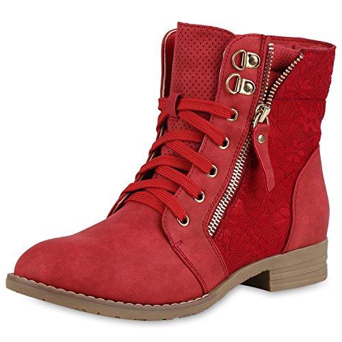 Damen Schnürstiefeletten Spitze Stiefeletten Zipper Worker Boot Rot 40 (Ups Kostüm Frauen)