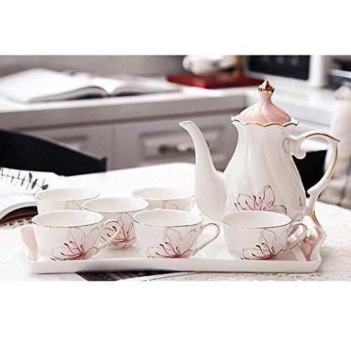Set de thé/Set de thé en céramique/Set de thé l'après-midi/Tasse de café simple/6 Coupe 1 Pot 1 Set de plateau/8 Set (2 couleurs en option) (couleur : A)