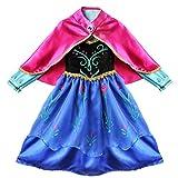 Freebily Disfraz de Princesa para Niña Vestido de Fiesta Carnaval Halloween Actuación Ceremonia Infantil Vestido de Flores con Capa para Niñas (2-8 Años) Negro y Azul 2-3 Años