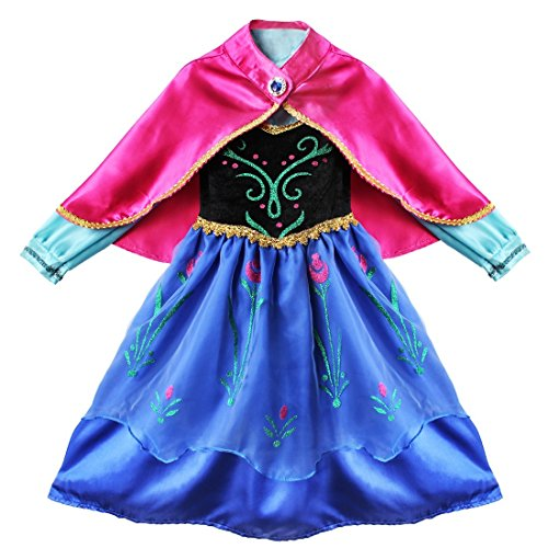 Freebily Disfraz de Princesa para Niña Vestido de Fiesta Carnaval Halloween Actuación Ceremonia Infantil Vestido de Flores con Capa para Niñas (2-8 Años) Negro y Azul 5-6 Años