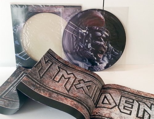 IRON MAIDEN man on the edge, picture disc in die cut sleeve. Includes poster which is in as new condition. (Iron Maiden Picture Disc Vinyl)