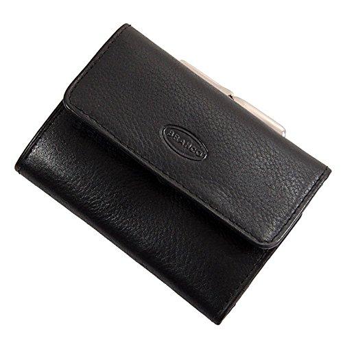 La Femme Bügel (Branco handliche, kleine Leder Damen Geldbörse Portemonnaie Geldbeutel Bügel Börse Knipser 10,5 x 7,5 cm (Schwarz))