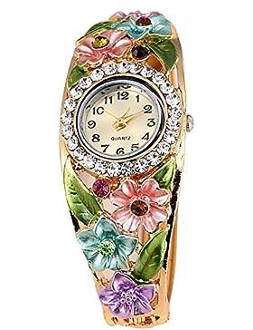 Gosear Frauen Lady Mode Blume Lässige Partei Quarz Armband Handgelenk Uhr Armbanduhr B