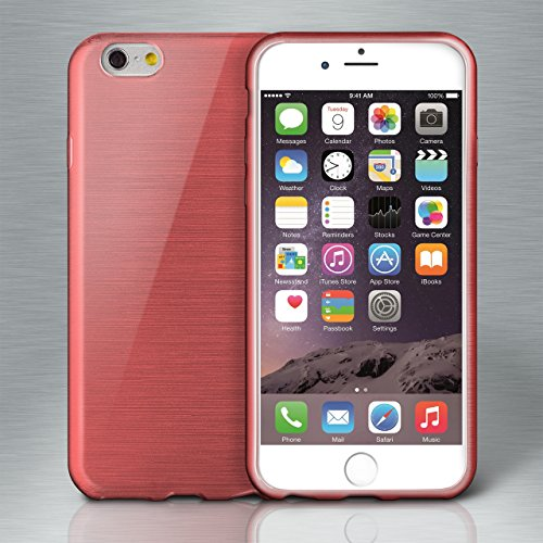 iPhone 7/8 Plus Hülle Silikon Silber [OneFlow Brushed Back-Cover] TPU Schutzhülle Ultra-Slim Handyhülle für iPhone 7/8 + Plus Case Dünn Silikonhülle Rückseite Tasche CORAL-RED