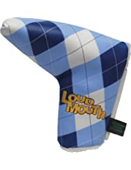 WINNING EDGE LOUDMOUTH NOVELTY PUTTER COVER. BLUE AND WHITE CHECK