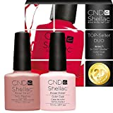CND Shellac UV/LED Power Polish, Satin Pyjamas/deutlich Pink 7,3 ml – 2 Stück