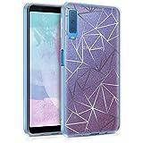kwmobile Funda para Samsung Galaxy A7 (2018) - Carcasa de [TPU] para móvil y diseño de triángulos con Purpurina en [Plata/Rosa Fucsia]