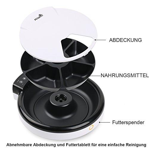 TD Design Automatisierte Futterspender für Hunde & Katzen | Trocken- und Nassfutter – 5 Mahlzeiten, 5 x 240ml - 6