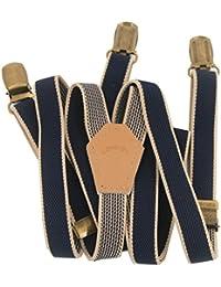 Los hombres y las mujeres pantalones Lawevan apoyos Supenders estilo Koearn look preppy estrechas apoyos de color azul oscuro