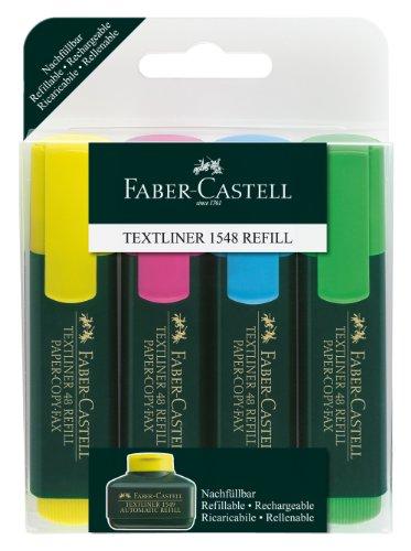 Faber-Castell 154804 - Textmarker TEXTLINER 48, 1 - 5 mm, 4er Etui, Inhalt: je 1x gelb, rosa, blau,...