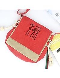 Ocamo Women Soft Canvas Fashionable National Style Satchel Bag Large Capacity Portable Single-Shoulder Bag