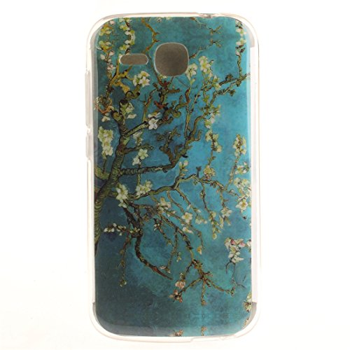 Huawei Y600 Hülle, Hozor Gemaltes Muster Transparent Kante Silikonhülle Ultra Slim Weich TPU Silikon Kratzfeste Handyhülle Schutz Case Backcover - Pflaumenbaum