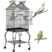 Yaheetech Cage pour Les Oiseaux 59 x 59 x 145 cm Cage sur roulettes Canaries Perroquet Perruches Canaris