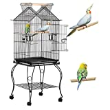Yaheetech Large Metal Parrot Aviary Bird Open Top Cage For Budgerigars Conures Cockatiels Caiques Lovebirds with Wheels Perch Slide-Out Tray Pet Supply 59 x 59 x 145 cm (LxWxH)
