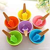 Vepson 6 Ice Cream Cone Shape Bowl with 6 Spoons - Assorted Colors - BPA Free Plastic