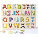 Wooden Alphabet Puzzle With Knobs (Capital Letters)ABCD