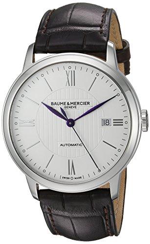 Baume & Mercier pour homme Swiss automatique en acier inoxydable et de cuir décontractée montre, couleur: marron (modèle: Moa10214)