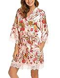 BeautyUU Damen Morgenmantel Kimono Bademantel Satin Nachthemd Nachtwäsche Schlafanzüge Mit Blumenspitze, Pat3, L